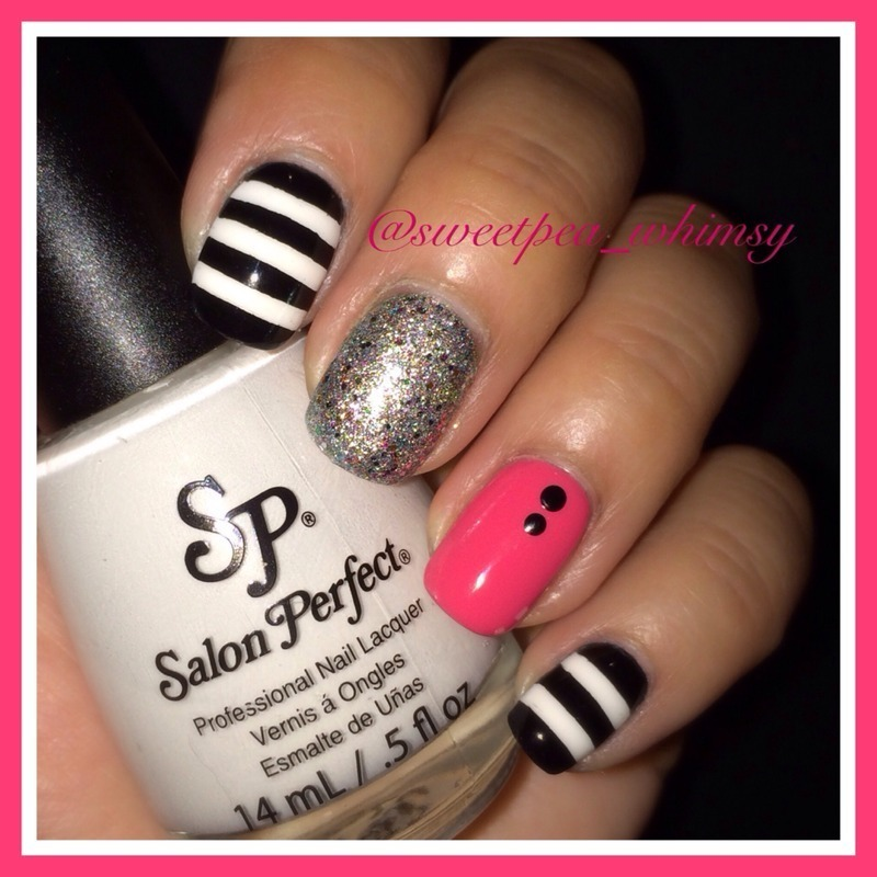 💗 Simple Black, White & Hot Pink nail art by SweetPea_Whimsy