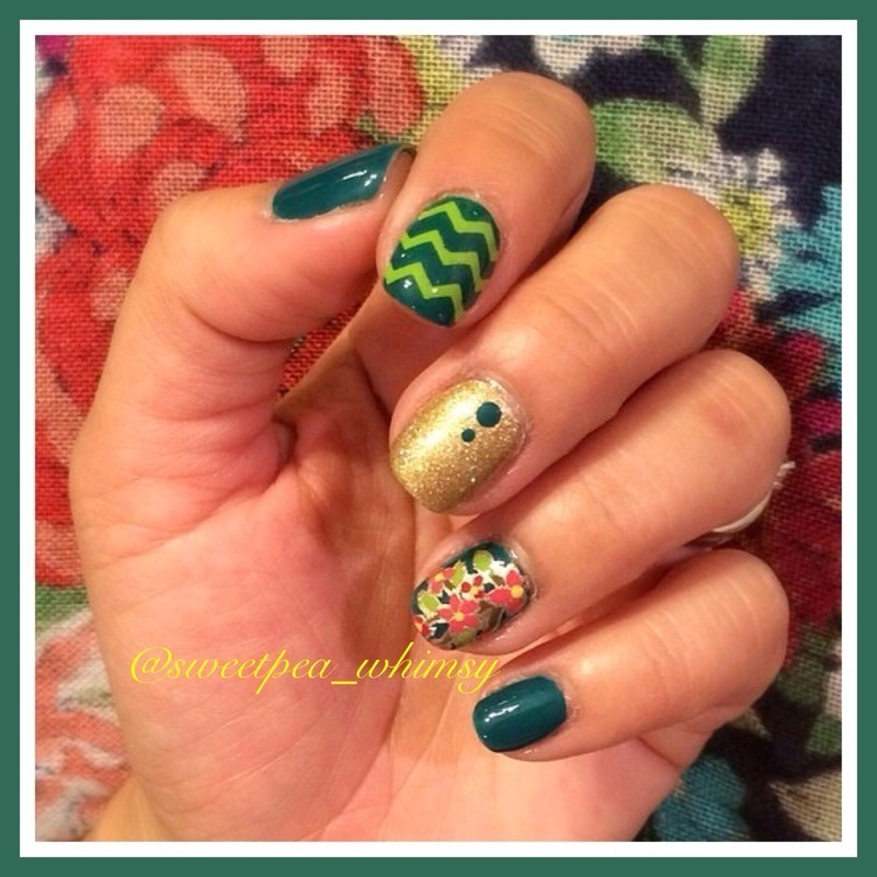 Green, Gold and Floral nail art by SweetPea_Whimsy