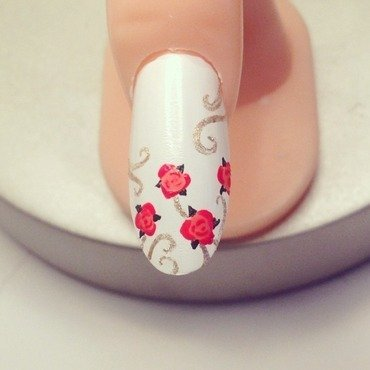 Rose garden nail art by Littledaisies