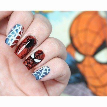Spiderman nail art by Jordan