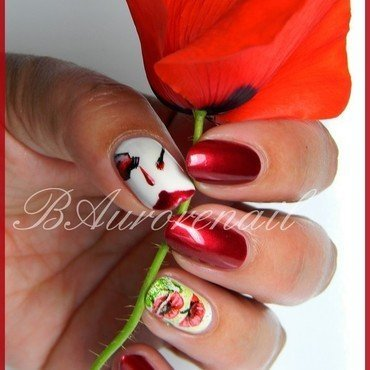 Coquelicot nail art by BAurorenail