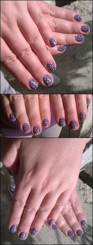 Sparkly dots on a lovely color nail art by Mila