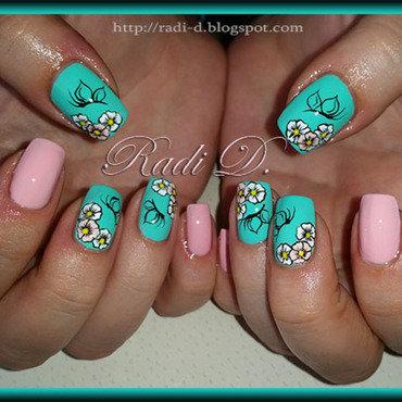 Mint & Pink nail art by Radi Dimitrova