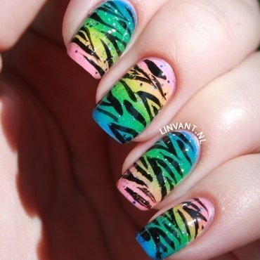 Candy Zebra nail art by Lin van T