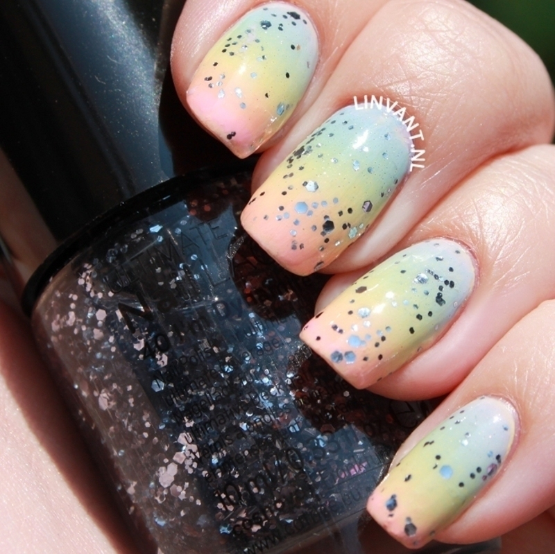 Pastel Rainbow nail art by Lin van T