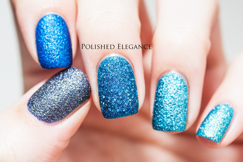 Blue Textured Ombre nail art by Lisa