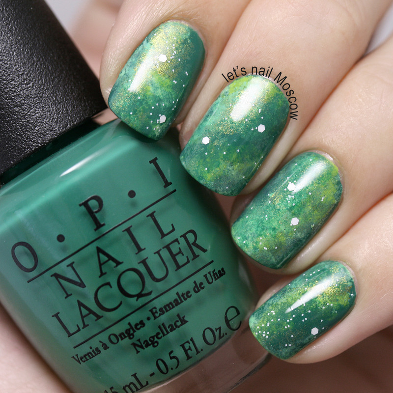 green galaxy nails :) nail art by Let's Nail Moscow