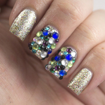 Golden oldie thursdays bling rhinestones nail art 1 thumb370f