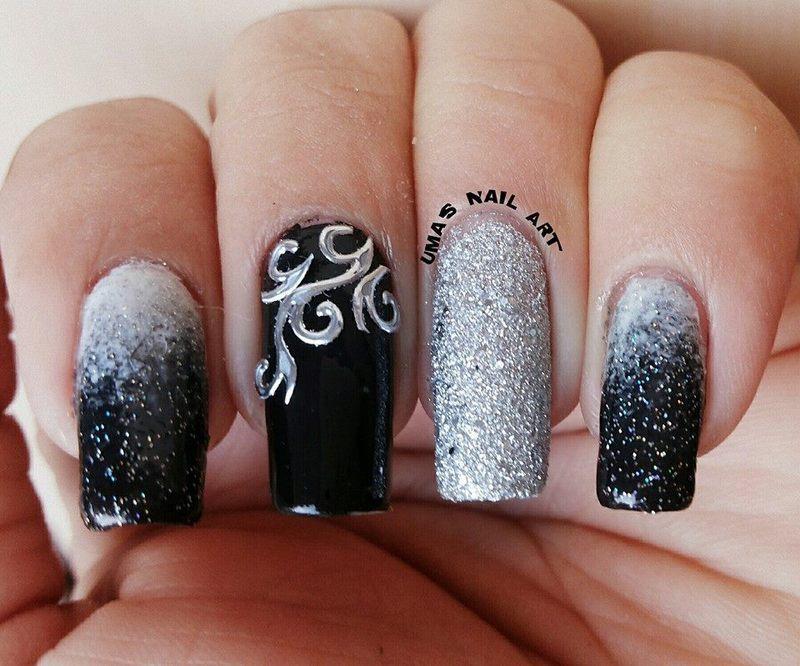 black Beauty. nail art by Uma mathur