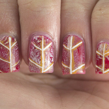 Red Dogwood Leaf nail art by Marisa  Cavanaugh