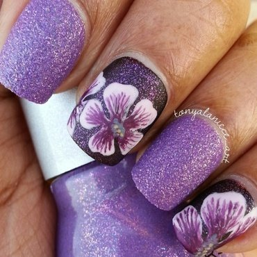 Purple Wildflower nail art by Tonya