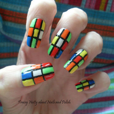 Rubik's Cube Nails nail art by Tracey - Bite no more