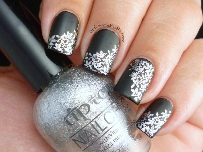 Matte black & silver nail art by Michelle