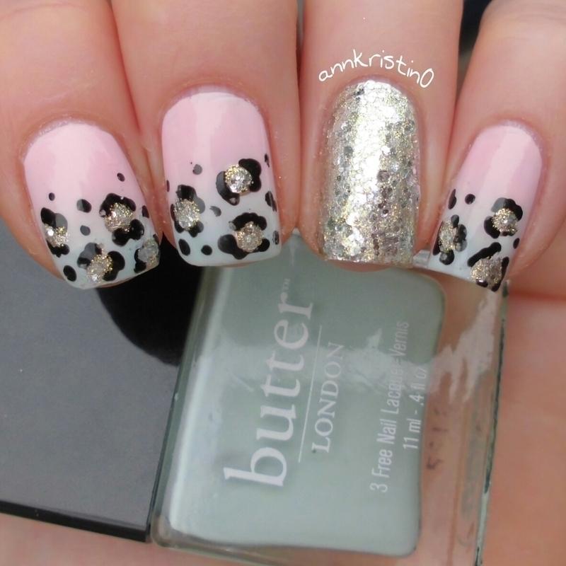 Leopard French Tips Ombré #1 nail art by Ann-Kristin