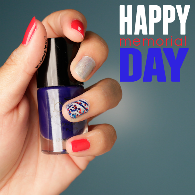Red, White and Bloo-m Away nail art by Bundle Monster