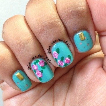 Flowers and Studs nail art by Marisol Medina