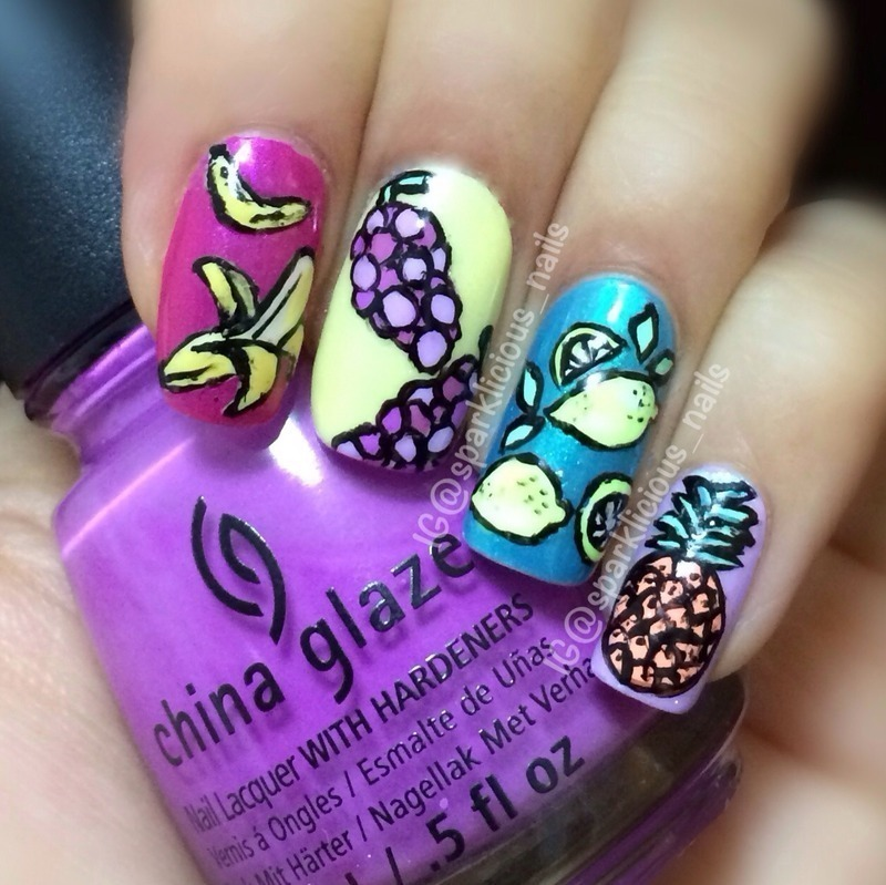 "Fruitilicious nail art by Amanda ""Sparklicious Nails"""