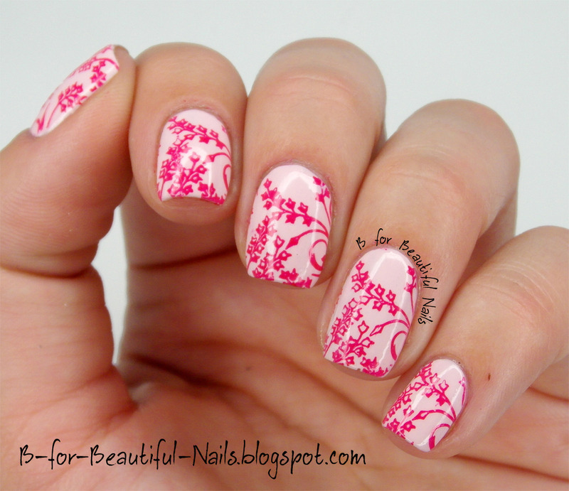 Floral Stamping Nail Art with Essie ♥ nail art by B.