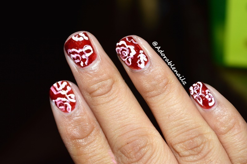 Washed out flowers nail art by Raquelle