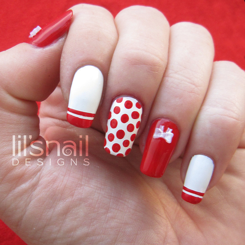 Cute Polkadotted Red nail art by Lily-Jane Verezen