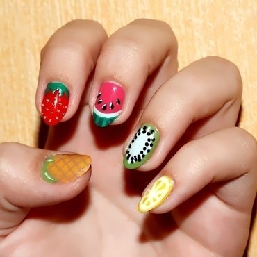 Fruits everywhere nail art by Paulina Domoradzka