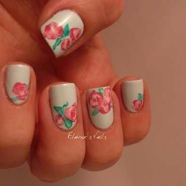 Freehand pink roses nail art by Ginger_Elanor