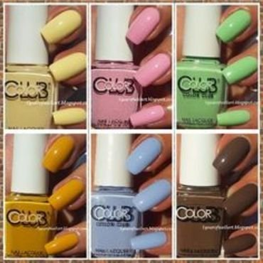 Color Club Maroon Swoon, Color Club Je t'aime, Color Club Je ne sais quoi, Color Club La petite mint-sieur, Color Club Holy Chic!, and Color Club Fondue for two Swatch by Margriet Sijperda