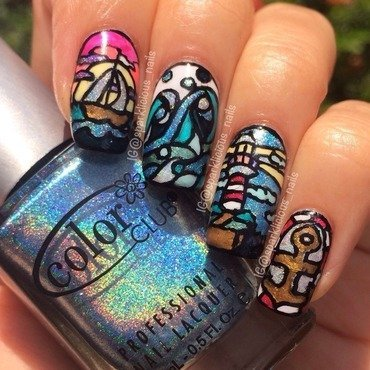 "Nautical Stained Glass nail art by Amanda ""Sparklicious Nails"""