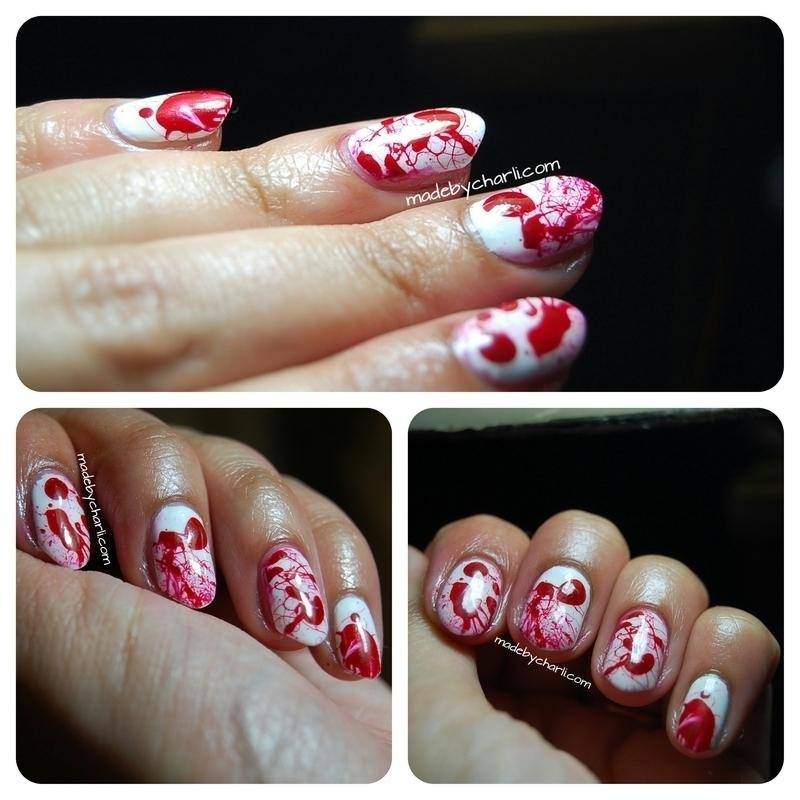 Blood splatter - Dexter style nail art nail art by Charli Searchwell-Guest