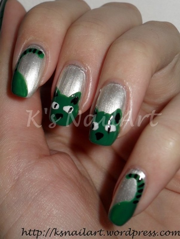 "Envy Cats nail art by Kairi E ""K's NailArt"""