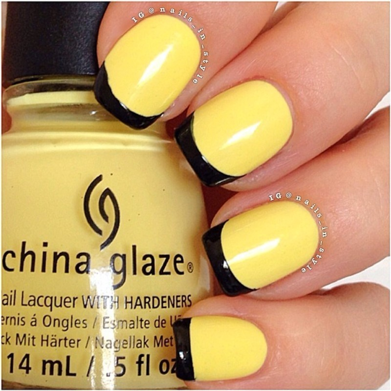 Black and Yellow French nail art by Nails_In_Style