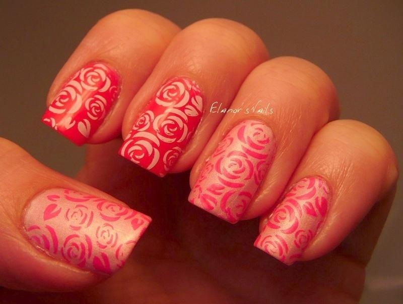 Pink And White Rose Stamping Nail Art By Gingerelanor Nailpolis