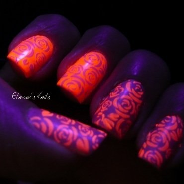 Pink and White Rose Stamping - Glow in the Dark nail art by Ginger_Elanor