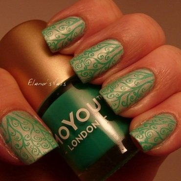 MoYou Stamping - Green on Green nail art by Ginger_Elanor