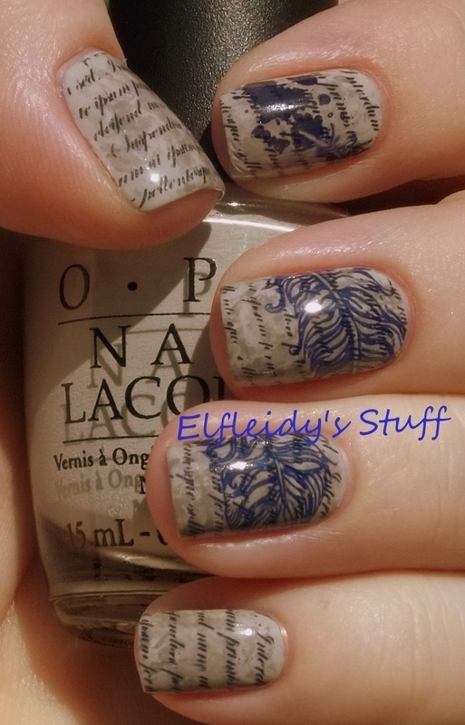 Stamped script nail art by Jenette Maitland-Tomblin