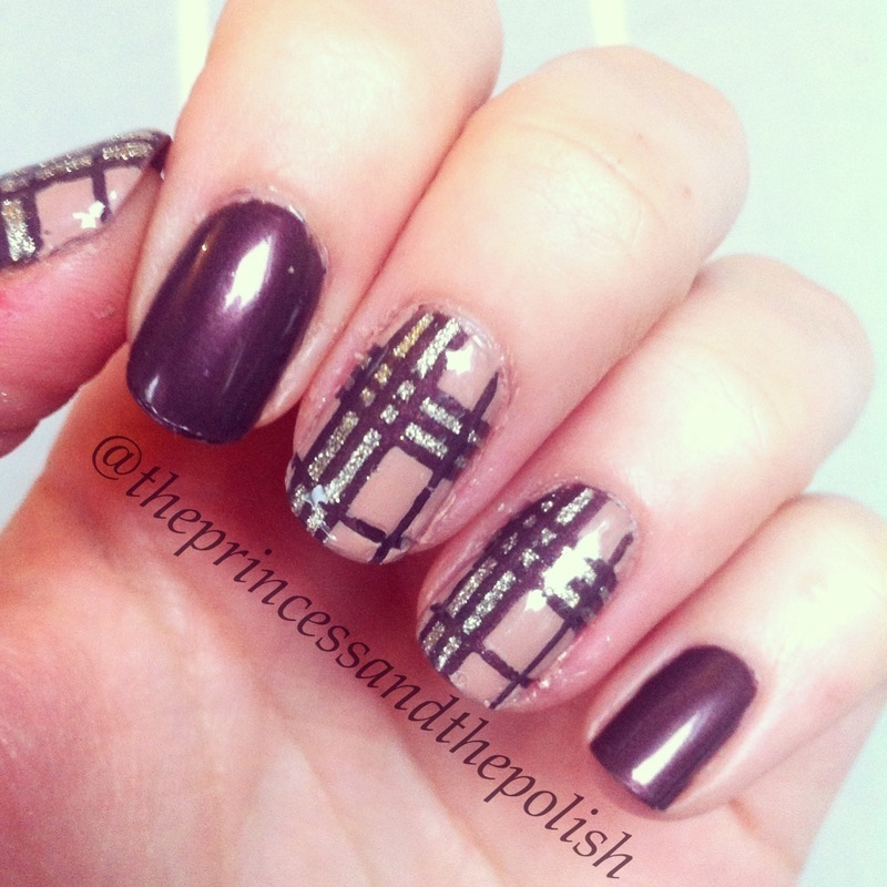 Tartan and Burberry-inspired nails nail art by Alexandra