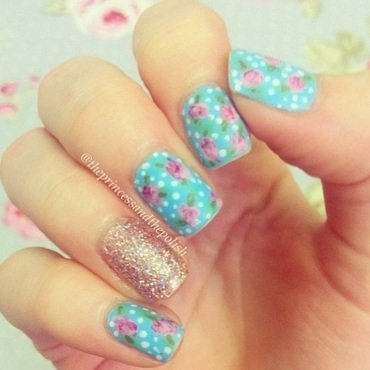 Floral plus glitter! nail art by Alexandra