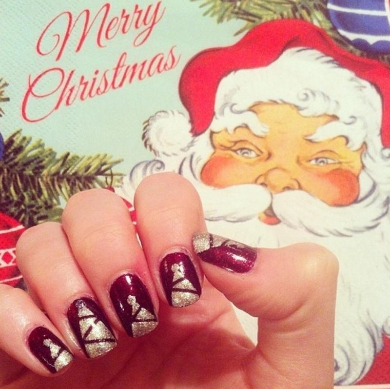 Christmas Day Trees nail art by Alexandra