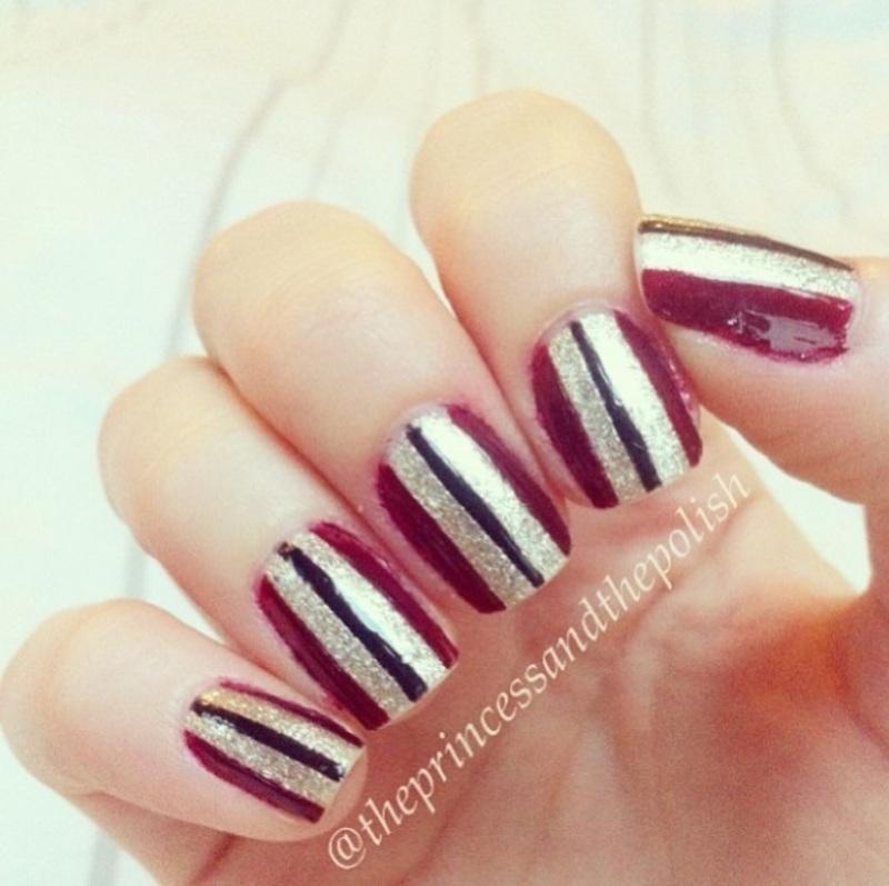 Stripes nail art by Alexandra
