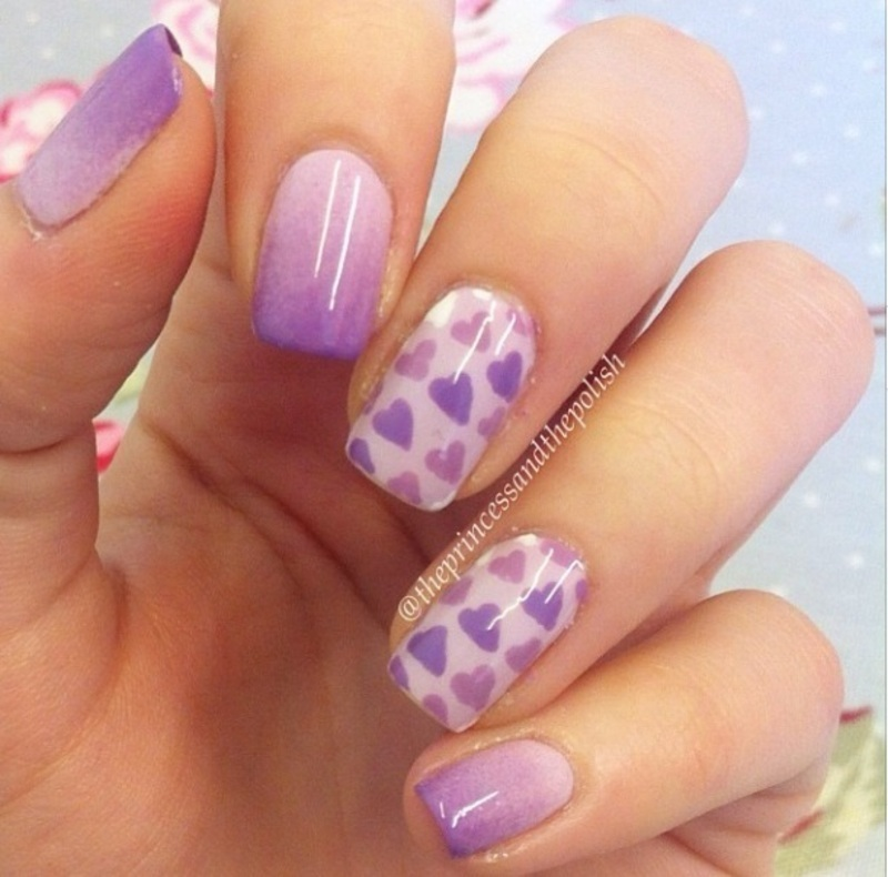 Gradient Hearts <3 nail art by Alexandra