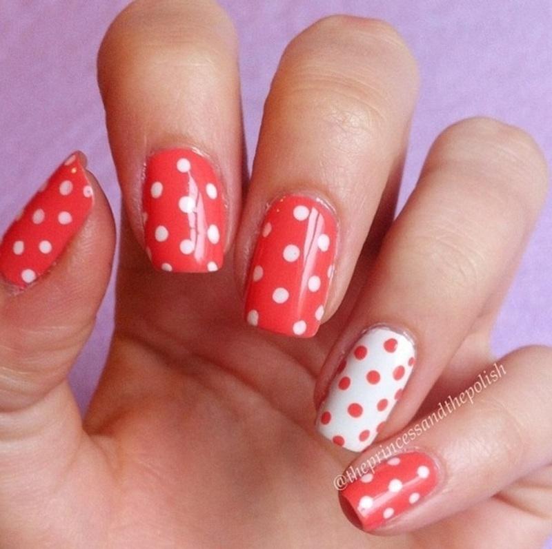 Coral Polka Dots nail art by Alexandra