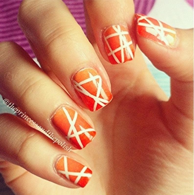 Gradient Tape Mani nail art by Alexandra