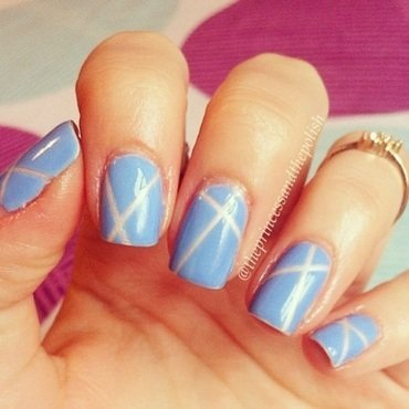Blue and White Tape Mani nail art by Alexandra