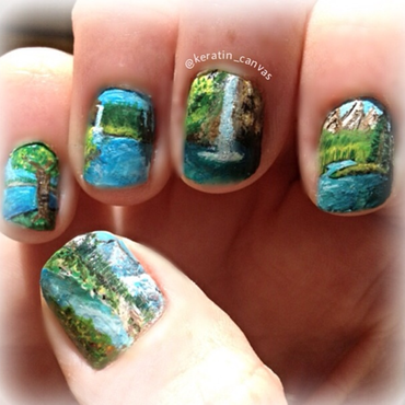 Waterfall nail art by Amanda