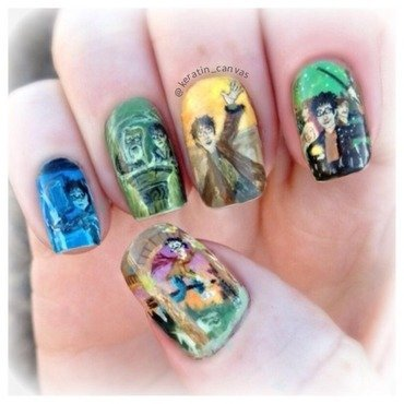 Harry Potter Book Series nail art by Amanda