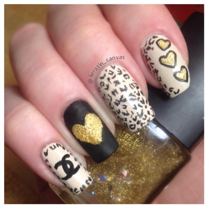 Leopard and Hearts nail art by Amanda