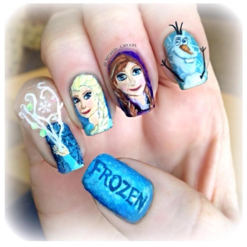 Frozen nail art by Amanda - Nailpolis: Museum of Nail Art
