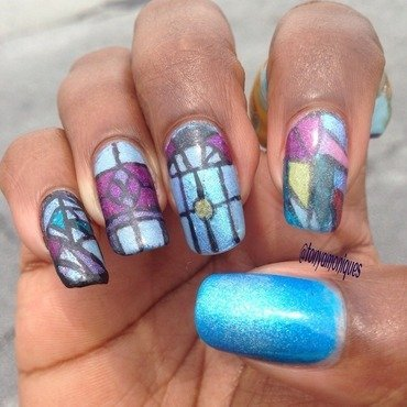 Stained Glass nail art by Tonya Simmons