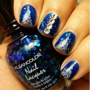deep blue glitter nail art by Marsha Morales