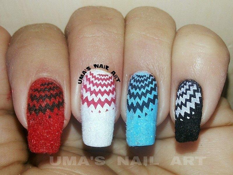 velvet stamping nail art by Uma mathur